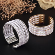 New bijoux bracelet Rhinestones Silver Plated Bracelet Pearl For Women Bangles Fashion Bracelet Gold -Color Jewelry SZ-ZZ028