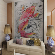 Custom 3D wallpaper mural 3D wallpaper Japanese restaurant Japanese restaurant Koi Tattoo Art Ukiyo-e Figure restaurant backdrop