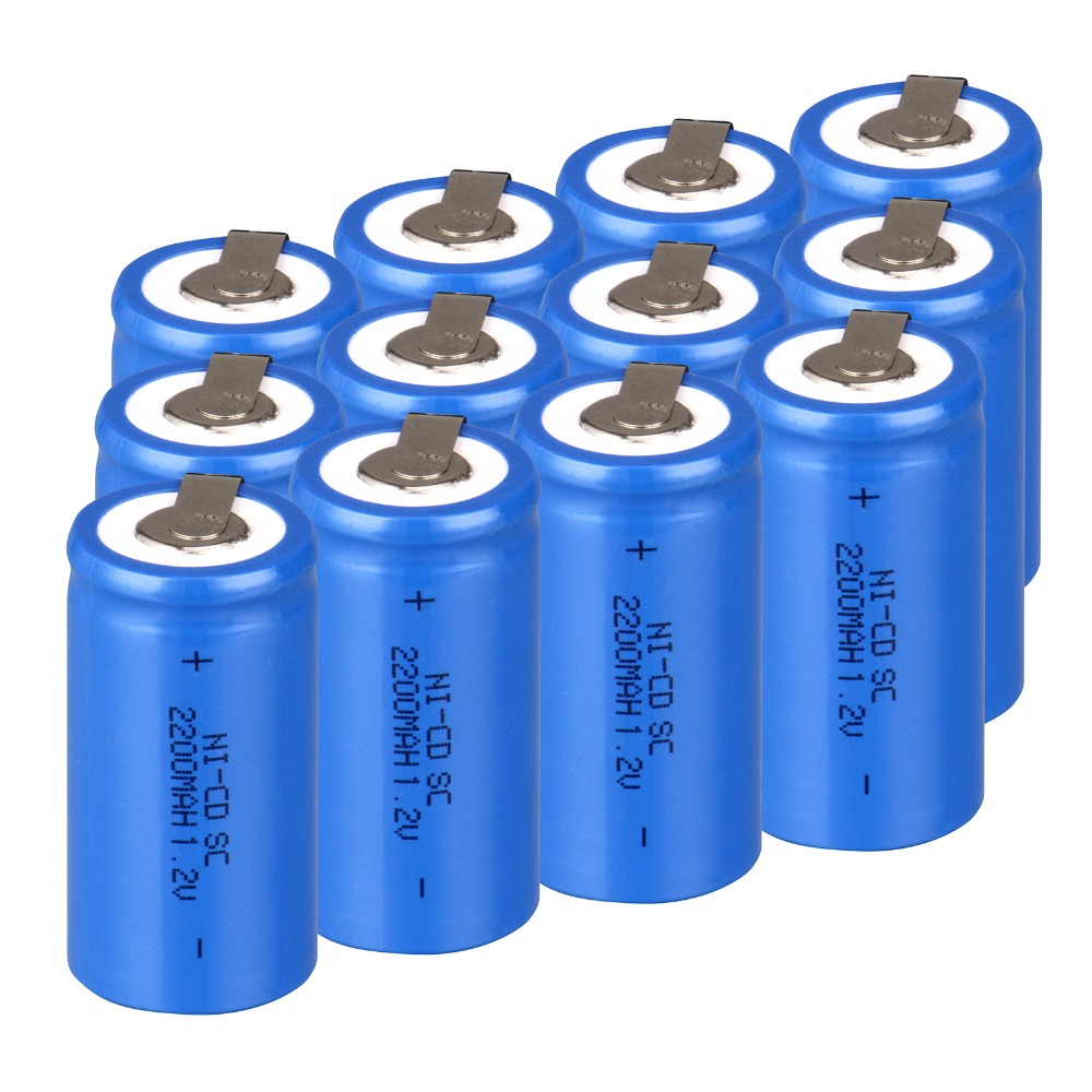 High quality ! 12PCS Sub C SC battery rechargeable battery 1.2V 2200mAh Ni-Cd Ni-Cd Battery Blue Batteries -4.25*2.2cm<br><br>Aliexpress