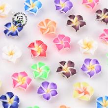 200pcs Handmade Polymer Clay 3D Flower Plumeria Beads, Mixed Color, 12x8mm, Hole: 2mm(China)