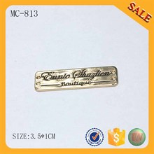 MC813 Gold Metal Garment Tag Clothing Metal Name Tags Metal Label Tag