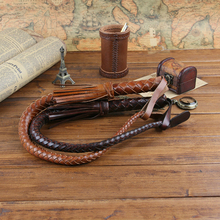 85CM Hand Made Braided Riding Whips for Horse Racing Outer 100% Genuine Bull Leather Equestrian Horse Whip Riding Crop(China)