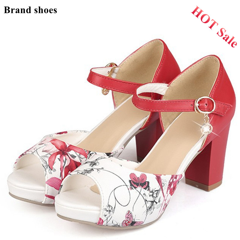 New Women Sandals Ankle-Strap Peep Toe Chunky High Heel sandals Printing Platform Woman buckle Red Sandals Bridal Shoes Size 42 <br><br>Aliexpress