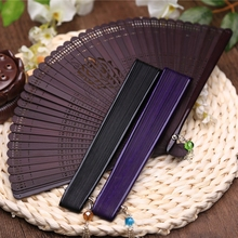 Free Shipping 10pcs High-grade Bamboo Carving Craft Gift Fans Mini Pocket Fan 17cm Japanese Folding Fan Female Hand Held Dance(China)