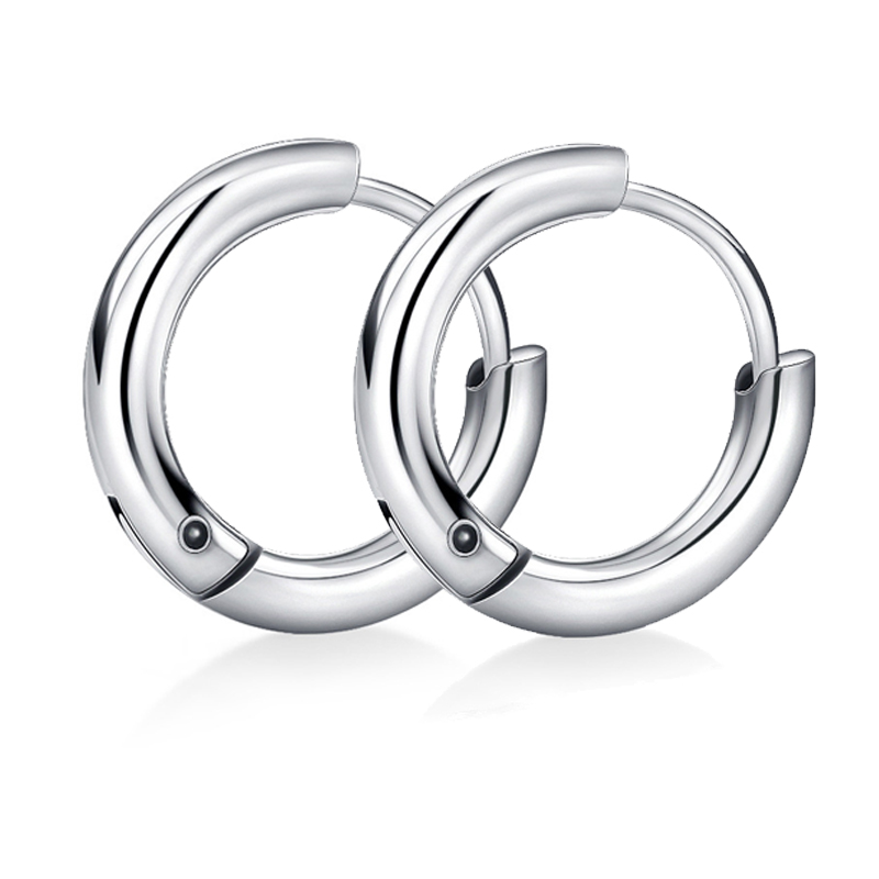 FWORLD New Titanium steel male hoop earrings metal texture silver color and black earrings hoop for good friend gifts E-006(China (Mainland))