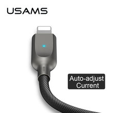 Auto disconnect USB lightnings Cable for iPhone x 8 7 6 ipad USAMS Phone light Cable for iOS 11 10 9 Intelligent Nylon Data Line(China)