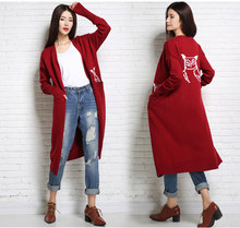 Embroidery Cat pocket Women's Soft and Comfortable Coat Autumn Knitted Cardigan Medium length Female red Cashmere Sweater(China)