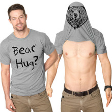 Fashion Men Boys Summer Tops Cotton Bear Hug Letter Print T-shirt Animals Print Short Sleeves Lover Shirt Gift H9