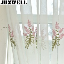 Junwell Cotton Linen Fabric Panel Curtains For Living Room Floral Embroidery Curtain For Bedroom Drapes Punching Top Process(China)