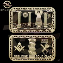 "100 pcs/lot Plated 1 oz MASONIC BAR - FREEMASONS ""FAITH HOPE CHARITY"" 24K GOLD BULLION BAR with Different Serials Nunber"