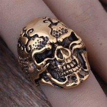 High Quality Stainless Steel Plated Gold Skull Head Finger Rings For Men Fashion Gothic Punk Jewelry Boyfriend Gift 2016 (A473)