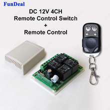 433Mhz Universal DC 12V 4CH Wireless Remote Control Switch Diy Relay Receiver Module and RF Transmitter 433 Mhz Remote Controls(China)