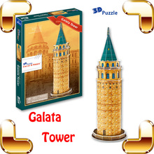 New DIY Gift Galata Tower 3D Puzzle Model Building Tower Puzzle Toy For Kids Brain Training Education Home Decoration Present(China)