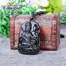 Canifu Natural Black Obsidian Carving Unique Chinese Guanyin Buddha Chain Pendant Men Luxury Transhipped Necklace Pendants(China)