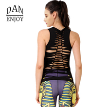 DANENJOY Bandage Sleeveless Yoga T Shirt Women Jerseys Vest Running Sport Tops 2017 Black Quick Dry Hollow Backside Sportswear