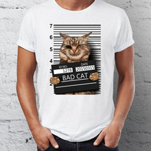 2017 Summer Funny Bad Cat Print T shirts Cotton Modal Women Men White Tee Gifts for Him Her Regular Slim Fit for ladies