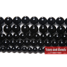"Free Shipping AA Grade Black Agate Round Gem Loose Strand Beads 15"" Strand 2 3 4 6 8 10 12MM Pick Size For Jewelry  No.AB10"
