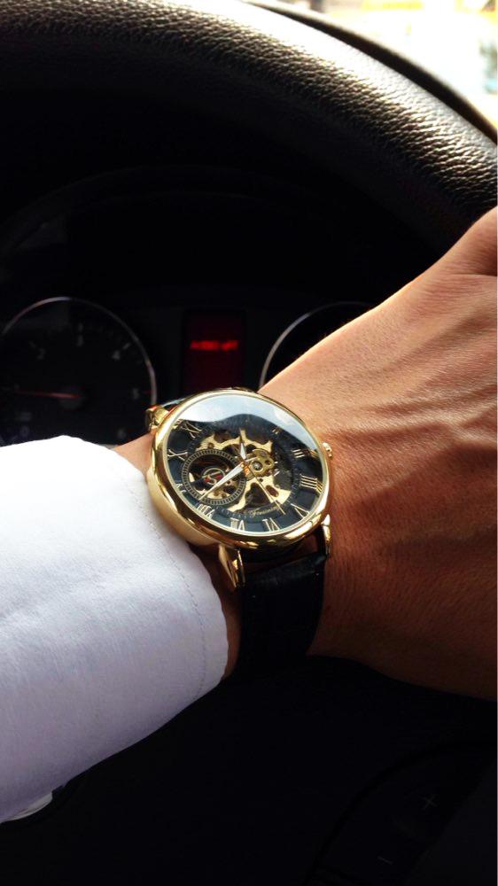Forsining 3d Logo Design Hollow Engraving Black Gold Case Leather Skeleton Mechanical Watches Men Luxury Brand Heren Horloge 16