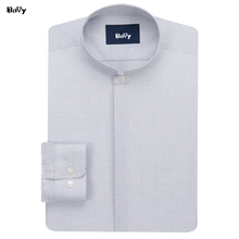 Customized Dress Shirt Mandarin collars shirt men's round neck Spring summer men's long sleeved cotton shirt Embroidery letters(China)