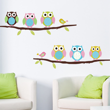 New Cartoon children's room bedroom walls painted decorative stickers cute Owl Animal Wall Stickers Free shipping(China)