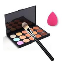 Add fresh color to your face 15 Color Concealer Palette + Makeup Brush + Sponge Puff Makeup Contour Palette Anne(China)
