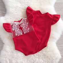 Lace Ruffles Romper baby clothes 2017 Kids Girls Infant Lace Romper Jumpsuit Cotton Clothes Outfits(China)