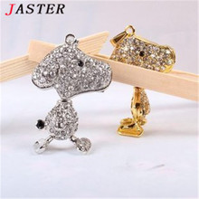 JASTER Cute animal necklace crystal jewelry usb flash drive mouse jewerly keychain puppy pendrive 32gb memory stick