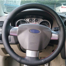 Black Artificial Leather Car Steering Wheel Cover for Ford Focus 2 2005-2011(3-Spoke)(China)