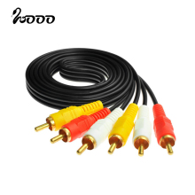3RCA Male to 3 RCA Male Composite Audio Video AV Cable Plug 3X RCA Retail & Wholesale 1.5M 3M 5M 10M 15M 20M Yellow/Red/White(China)