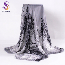 [BYSIFA] Grey Black Ladies Square Scarves Wraps New Fake Lace Flowers Silk Scarf Shawl Autumn Winter Muslim Head Scarf Cape(China)