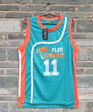 Brand LIANZEXIN #11 ED Monix Jersey Flint Tropics Semi Pro Movie Embroidered Blue Mens Basketball Jersey Wholesale Price(China)