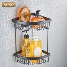 XOXODual purpose punch and paste, copper shelf bathroom basket Double Bathroom Shelves 21032(China)