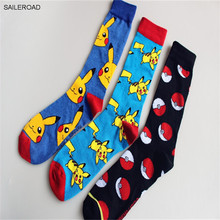 New Men Cotton Happy Socks Cartoon Casual Men Funny Socks Pokemon Fashion Novelty Crew Men's Dress Sock Calcetines 3pairs/lot(China)