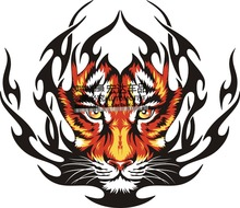 Tiger head sticker tiger totem stickers Automobile spare tire eyeing personality color paste machine cover-26(China)