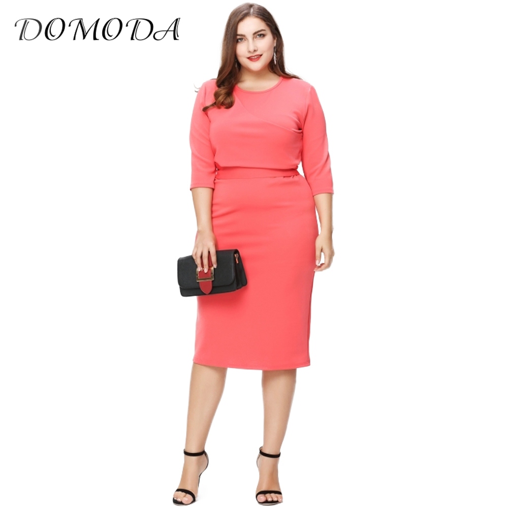 DOMODA Plus Size New Fashion Women Clothing Casual Solid Streetwear Dress Elegant Tied Big Size Dress 3XL 4XL 5XL 6XL