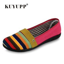 2016 NEW Brand Striped Ladies Shoes Summer Style Canvas Shoes Women Casual Flats Espadrilles FOOTWEAR For Women Size 35-40 PX41(China)