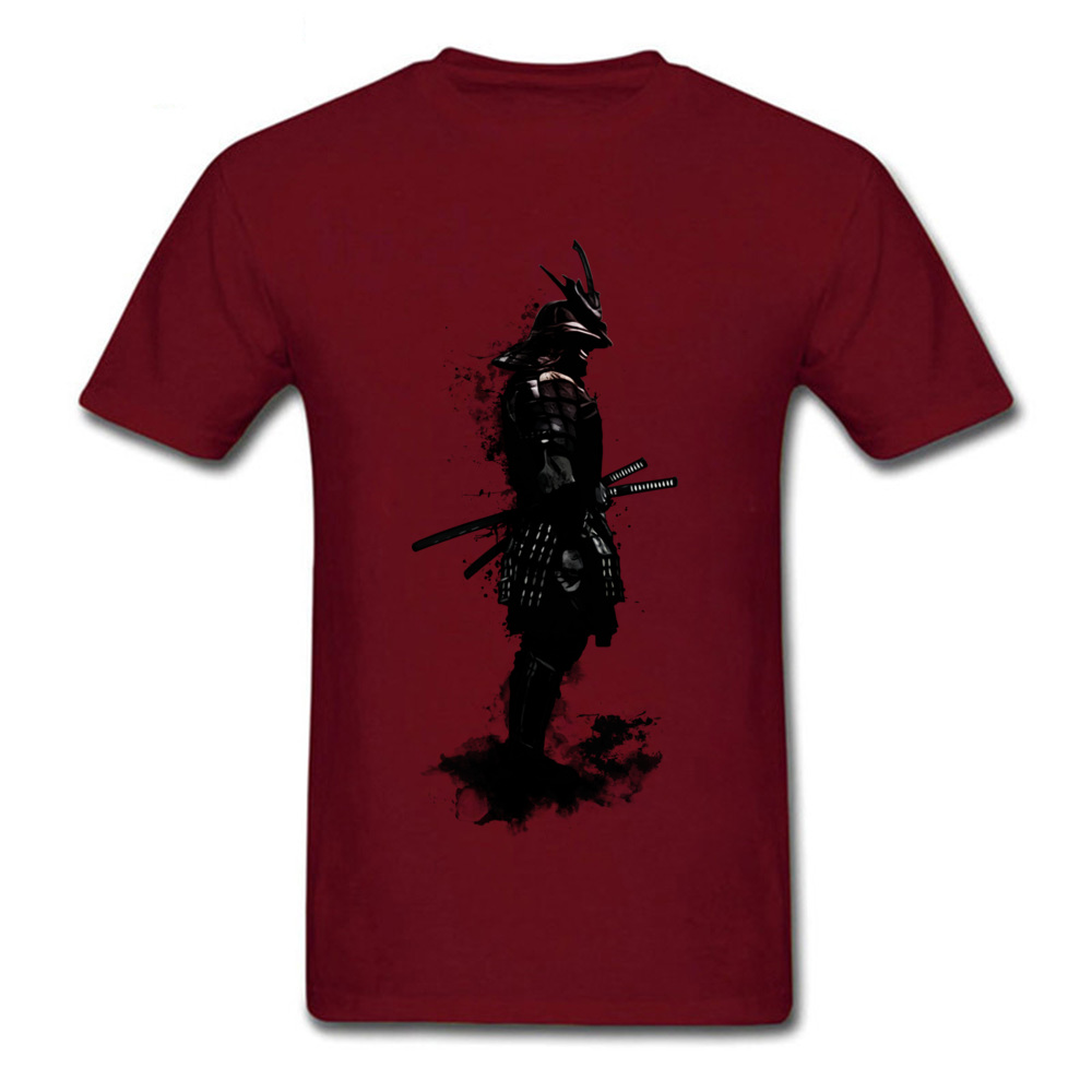 Armored Samurai Simple Style Tees Short Sleeve for Men 100% Cotton Fabric ostern Day O Neck Top T-shirts Design T Shirt Hip Hop Armored Samurai maroon