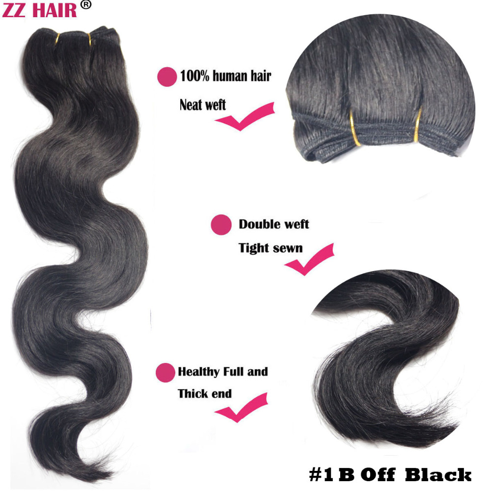 Free shipping 16182022242628100g/pcs wholesale silky soft remy 100% Human Hair weft/ weaving #1B Off Black Body Wavy<br><br>Aliexpress