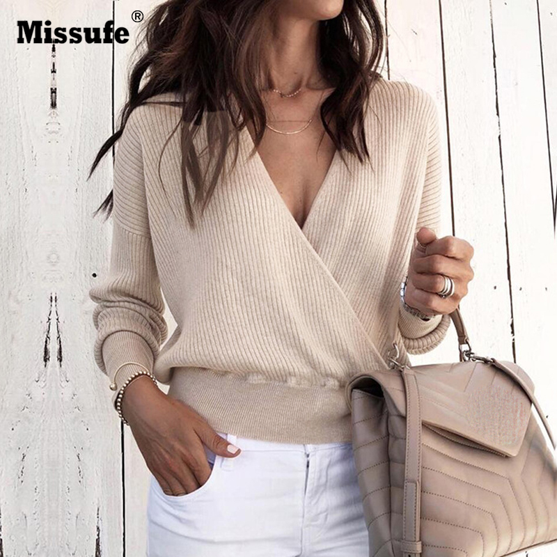 e2876a55d1 Missufe Sexy Deep V Neck Long Sleeve Tops Knitted Women Sweater Winter Casual  Pullovers Female Jumpers Autumn Sweaters