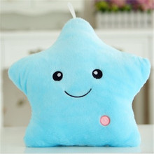 AIBOULLY Kawaii Star Pillow Plush Toys Cute Luminous Pillow Toy Led Light Glow in Dark Plush Pillow Doll kids Toys for Children(China)