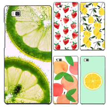 P8Lite Hard PC Cover For Huawei P8Lite Cases Case Phone Shell Hot Sales Painted Sweet Fruits Iced Lemon Ripe Peaches Patterns