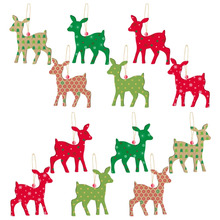 12pcs Christmas Decoration Deer-shape Hanging Paper Supplies Party Event Home Birthday Festival Christmas Trees Ornaments(China)