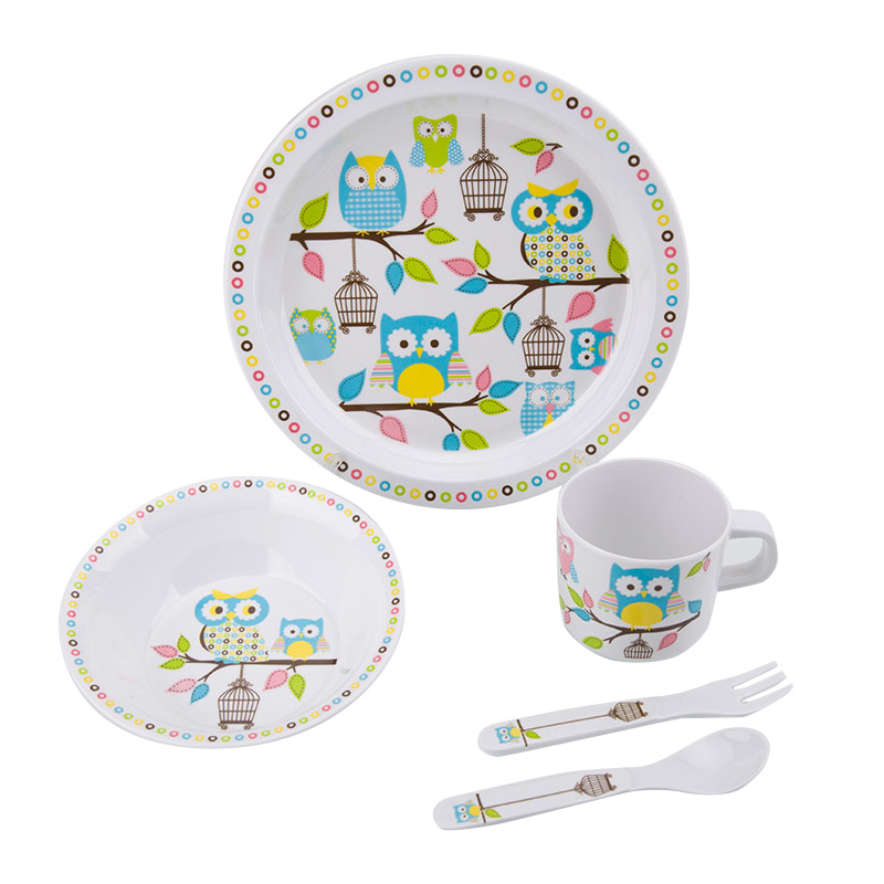 Baby Feeding Dishes Set Bowl Plate Forks Spoon Cup Children\'s Tableware Melamine Dinnerware Feeding Set For Kids Dishes Plate (8)