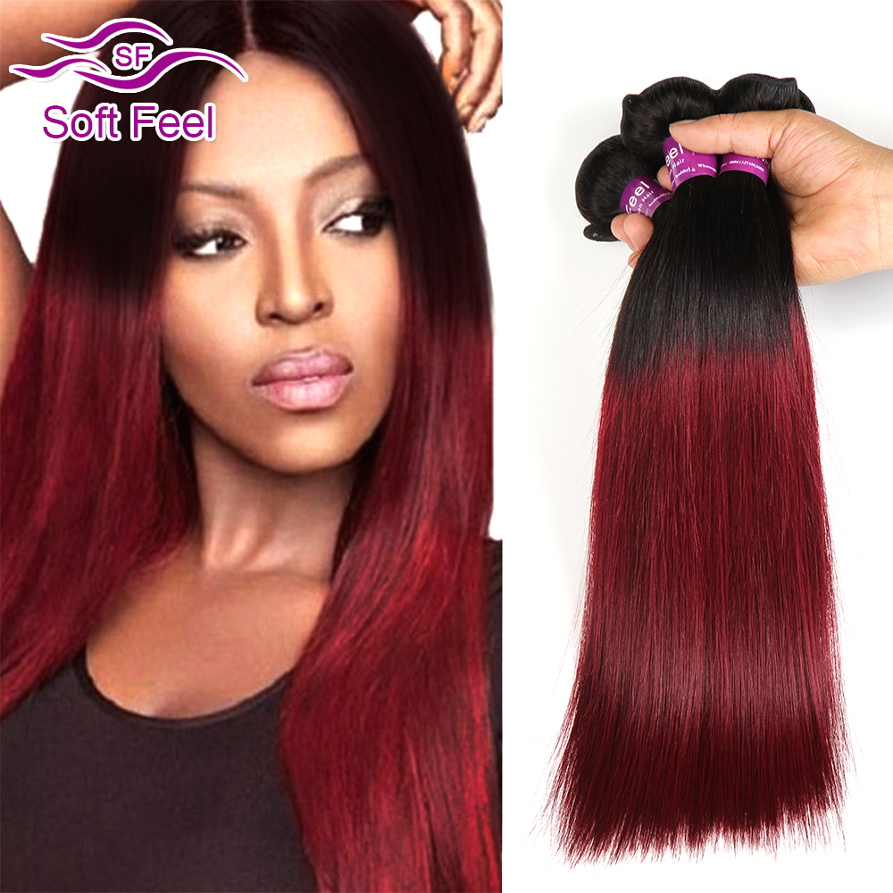 Ombre Brazilian Virgin Hair Straight T1B/99J Burgundy Brazilian Hair Weave 3 Bundles Deals Silky Straight Brazilian Hair Bundles<br><br>Aliexpress