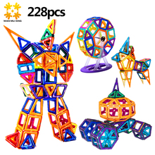 More Models Mini 228PCS Magnetic Blocks Educational Construction Set Castle & Robot Toy ABS Magnet Designer Kids Gift