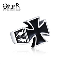 Man Punk Cool For Stainless Steel 3D Cross Style Rings Men 2017 Fashion Jewellery Unique Gift BR8-205 US Size