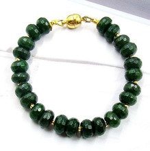 Natural Stone Jewelry Vintage Classic Dark Green Emeralds Beaded Chain Strand  Bracelet for Women Magnet Clasp