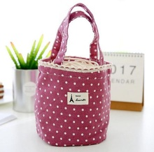 Excellent Quality 4 Color Thermal Insulated Lunch Container Shopping Bag Folding Eco-friendly Cosmetics Storage Casual Linen Bag(China)