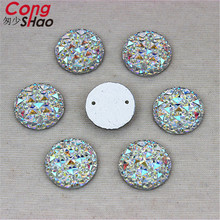 Cong Shao 200PCS 14mm Round Circle Shape Crystal AB Resin Rhinestone Flat Back Beads Sew On 2 Hole Dress Accessories ZZ73(China)