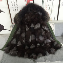 FASHION thick warm MRS black with grey fox fur lining raccoon fur collar jacket Mr furs parka coats(China)